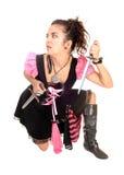 有剑的女孩。 免版税库存图片