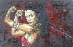 有剑的女孩,油画 免版税库存图片
