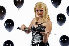 有剑的女孩 免版税库存照片