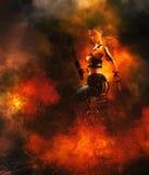 有剑的战士在火焰 向量例证