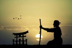 有剑的日本人在日落 免版税库存图片