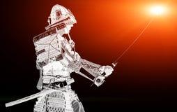 有剑的武士战士在日落 免版税库存图片