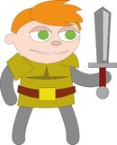 有剑的红发男孩 库存例证