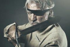 有剑的老战士 库存图片