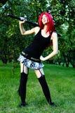 有剑的芳香树脂女孩 库存照片