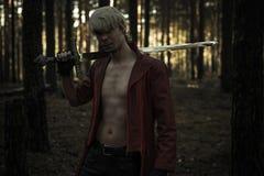 有剑的幻想英雄 图库摄影