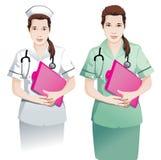 有剪贴板传染媒介的美丽的护士 向量例证