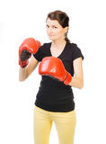 有动机的女性拳击手 免版税库存照片