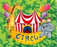 有动物和孩子的马戏场帐篷 免版税库存照片