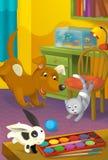 有动物的动画片室-孩子的例证 库存照片