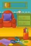有动物的动画片室-孩子的例证 图库摄影