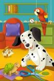 有动物的动画片室-孩子的例证 免版税库存图片