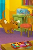 有动物的动画片室-孩子的例证 免版税库存照片