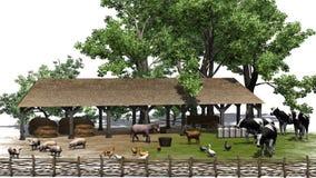 有动物的小农场在白色背景 免版税库存照片