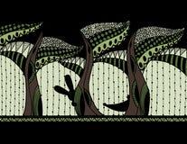 有动物的抽象森林 Zentagle 向量 免版税图库摄影