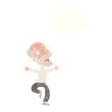 有动画片老的人与想法泡影的一个惊吓 库存图片