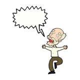 有动画片老的人与讲话泡影的一个惊吓 库存照片