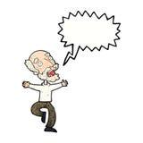 有动画片老的人与讲话泡影的一个惊吓 免版税库存图片