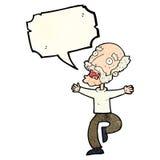 有动画片老的人与讲话泡影的一个惊吓 图库摄影