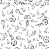 有化学制品的烧瓶 科学,教育,医疗例证的无缝的样式 皇族释放例证