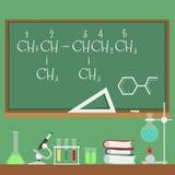 有化学惯例和科学设备平的动画片样式的黑板 皇族释放例证