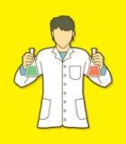 有化工的烧瓶的科学家 库存例证