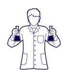 有化工的烧瓶的科学家 向量例证