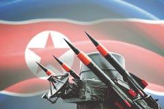 有北朝鲜旗子的核武器 免版税库存照片