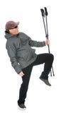 有北欧人走的杆的人 免版税图库摄影