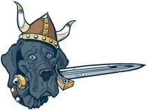有北欧海盗盔甲和剑的蓝色丹麦种大狗动画片吉祥人头 库存照片