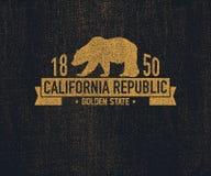 有北美灰熊的加利福尼亚T恤杉 向量例证