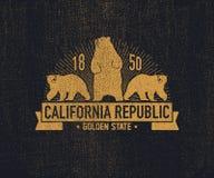 有北美灰熊的加利福尼亚T恤杉 皇族释放例证