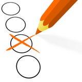 有十字架的橙色铅笔 免版税库存图片