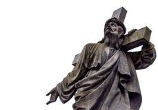 有十字架的耶稣在他的肩膀 卡片 文本的空间 免版税图库摄影