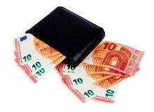 有十里面欧元的黑钱包 免版税图库摄影