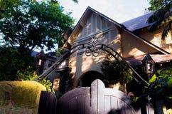 有华丽金属装饰的木门在连栋房屋前面 图库摄影