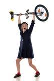 有单轮脚踏车的小丑 库存图片