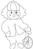 有单轮脚踏车着色页的小丑 皇族释放例证
