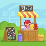 有卖年轻在平的样式图象的愉快的矮小的逗人喜爱的女孩的柠檬水摊企业传染媒介五颜六色的例证 免版税库存图片