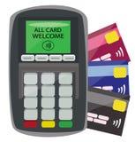 有卡片的信用卡机器 免版税库存图片