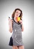 有卡片的妇女裁判员在白色 免版税库存照片