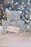 有卡片的礼物盒 图库摄影