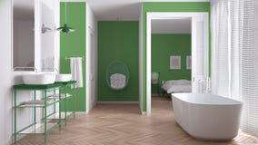 有卧室的最低纲领派白色和绿色斯堪的纳维亚卫生间 免版税库存图片