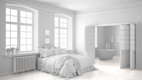 有卫生间的总白色斯堪的纳维亚卧室在背景中 免版税库存照片