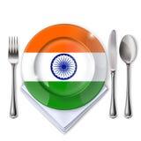 有印地安旗子的一块板材 免版税库存图片