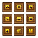 有危险标志的木板箱 库存图片