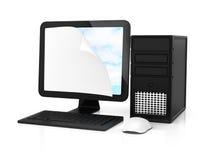 有卷曲壁角纸板料的计算机在屏幕上 图库摄影