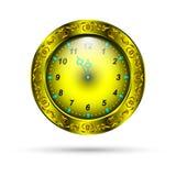 有卷曲装饰品的金时钟 免版税库存图片