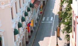 有历史中心的城市 卡塔赫钠哥伦比亚门面 库存照片