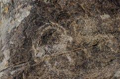 有历史刻在岩石上的文字的古老站点在吉尔吉斯斯坦 图库摄影